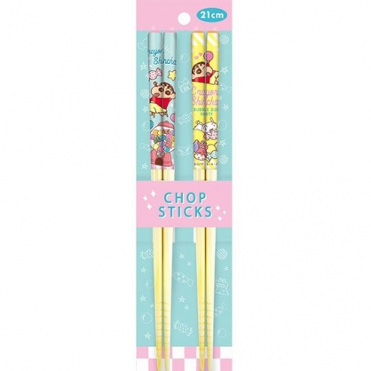 小禮堂 蠟筆小新 木筷 竹筷 筷子 環保筷 兒童餐具 21cm (2入 黃綠 糖果)