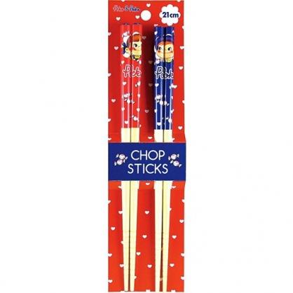 小禮堂 不二家PEKO 木筷 竹筷 筷子 環保筷 兒童餐具 21cm (2入 紅藍 愛心)