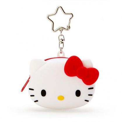 小禮堂 Hello Kitty 零錢包 矽膠 收納包 小物包 耳機包 吊飾 掛飾 大臉造型 (白)