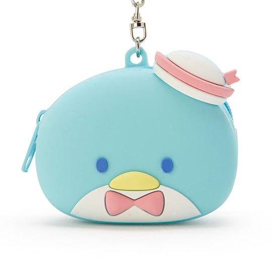 小禮堂 山姆企鵝 零錢包 矽膠 收納包 小物包 耳機包 吊飾 掛飾 大臉造型 (藍)