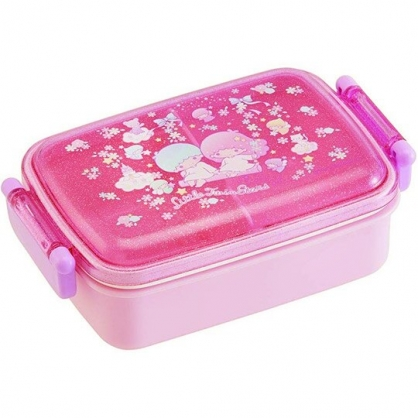 小禮堂 雙子星 日製 便當盒 透明蓋 方形塑膠 雙扣 餐盒 保鮮盒 450ml (粉 盪鞦韆)