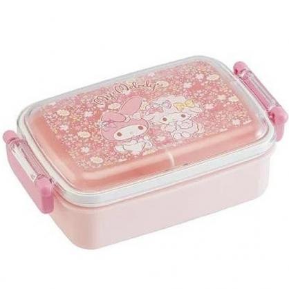 小禮堂 美樂蒂 日製 便當盒 透明蓋 方形塑膠 雙扣 餐盒 保鮮盒 450ml (粉 花朵)