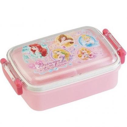 小禮堂 迪士尼 公主 日製 便當盒 透明蓋 方形塑膠 雙扣 餐盒 保鮮盒 450ml (粉 框框)
