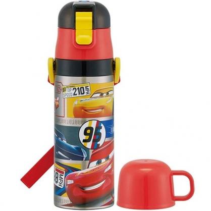 小禮堂 迪士尼 閃電麥坤 保溫瓶 彈蓋 兩用 超輕量不鏽鋼 水壺 隨手瓶 附背帶 470ml (黑紅 格圖)