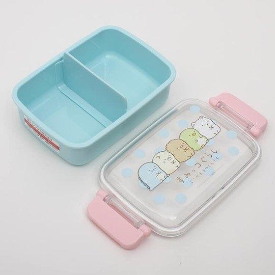 小禮堂 角落生物 日製 便當盒 透明蓋 方形塑膠 雙扣 餐盒 保鮮盒 450ml (綠 點點)