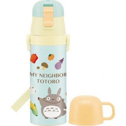小禮堂 宮崎駿 龍貓 保溫瓶 彈蓋 兩用 超輕量不鏽鋼 水壺 隨手瓶 附背帶 470ml (綠米 水果)