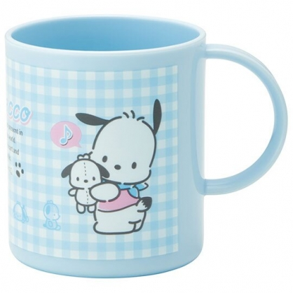 小禮堂 帕恰狗 日製 塑膠杯 單耳 兒童水杯 茶杯 漱口杯 240ml (藍 格紋)