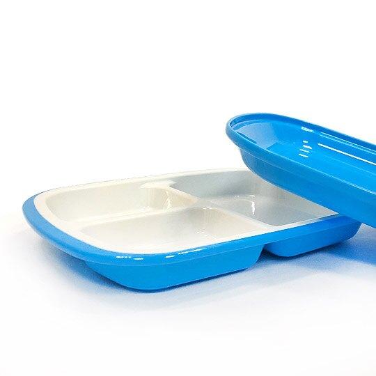 小禮堂 迪士尼 三眼怪 日製 塑膠餐盤 附蓋 方形 三格 便當盒 餐盒 菜盤 (藍 夾娃娃)