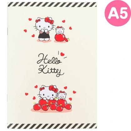 小禮堂 Hello Kitty 日製 筆記本 A5 橫線記事本 日記本 手札 手記 左翻 (米 蘋果)