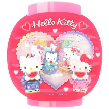 小禮堂 Hello Kitty 日製 和紙貼紙 手帳貼紙 裝飾貼紙 卡片裝飾 燈籠造型夾鏈袋 (紅)