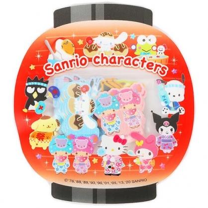 小禮堂 Sanrio大集合 日製 和紙貼紙 手帳貼紙 裝飾貼紙 卡片裝飾 燈籠造型夾鏈袋 (橘黑)