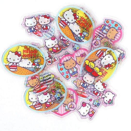 小禮堂 Hello Kitty 透明貼紙 手帳貼紙 裝飾貼紙 卡片裝飾 衣服造型夾鏈袋 (紅)