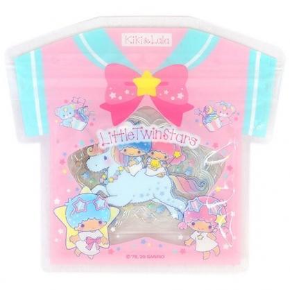 小禮堂 雙子星 透明貼紙 手帳貼紙 裝飾貼紙 卡片裝飾 衣服造型夾鏈袋 (粉)