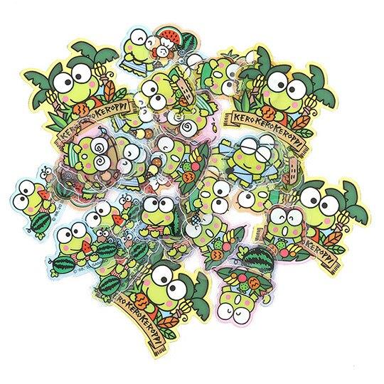 小禮堂 大眼蛙 透明貼紙 手帳貼紙 裝飾貼紙 卡片裝飾 衣服造型夾鏈袋 (綠)