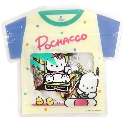 小禮堂 帕恰狗 透明貼紙 手帳貼紙 裝飾貼紙 卡片裝飾 衣服造型夾鏈袋 (藍米)