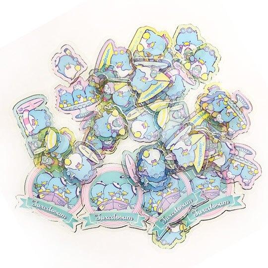 小禮堂 山姆企鵝 透明貼紙 手帳貼紙 裝飾貼紙 卡片裝飾 衣服造型夾鏈袋 (藍綠)