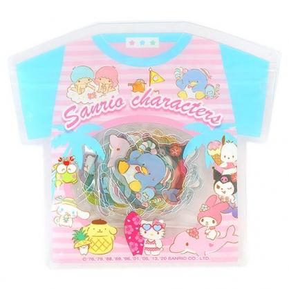 小禮堂 Sanrio大集合 透明貼紙 手帳貼紙 裝飾貼紙 卡片裝飾 衣服造型夾鏈袋 (粉藍)