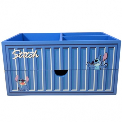 小禮堂 迪士尼 史迪奇 木製收納盒 橫式 單抽 三格 抽屜盒 置物盒 筆筒 貨櫃造型 (藍)