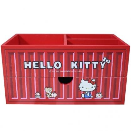 小禮堂 Hello Kitty 木製收納盒 橫式 單抽 三格 抽屜盒 置物盒 筆筒 貨櫃造型 (紅)