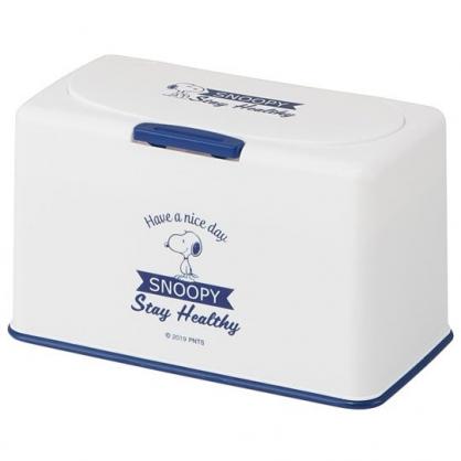 小禮堂 史努比 口罩盒 方形塑膠 按壓彈蓋 收納盒 紙巾盒 置物盒 面紙盒 (藍白 側站)
