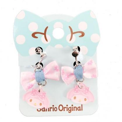 小禮堂 美樂蒂 夾式耳環 耳飾 耳墜 兒童飾品 螺旋耳夾 無耳洞 蝴蝶結造型 (藍粉)
