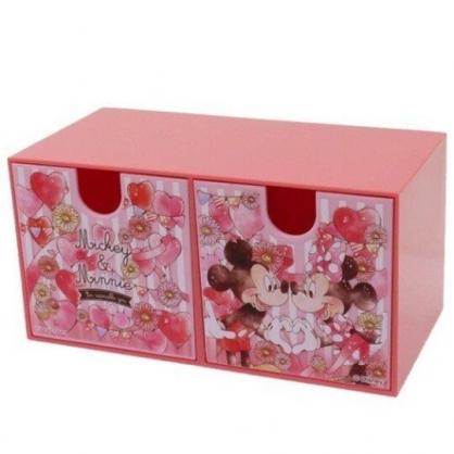 小禮堂 迪士尼 米奇米妮 抽屜盒 橫式 雙抽 塑膠 收納盒 飾品盒 置物盒 文具盒 (粉 氣球)