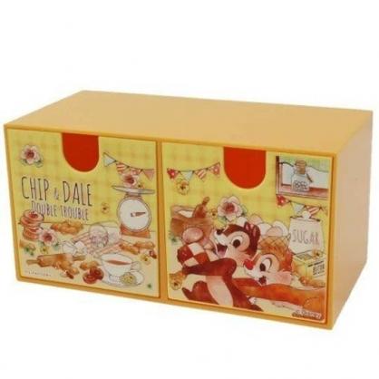 小禮堂 迪士尼 奇奇蒂蒂 抽屜盒 橫式 雙抽 塑膠 收納盒 飾品盒 置物盒 文具盒 (棕 餅乾)