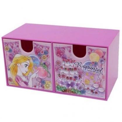 小禮堂 迪士尼 長髮公主 抽屜盒 橫式 雙抽 塑膠 收納盒 飾品盒 置物盒 文具盒 (紫 蛋糕)