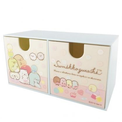 小禮堂 角落生物 抽屜盒 橫式 雙抽 塑膠 收納盒 飾品盒 置物盒 文具盒 (粉黃 玩偶)
