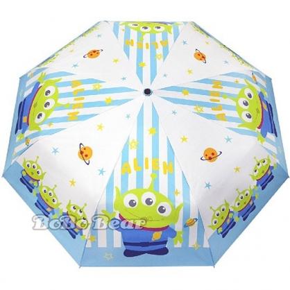 小禮堂 迪士尼 三眼怪 自動傘 折疊傘 雨陽傘 遮陽傘 折傘 雨具 加大型 (藍白 直紋)