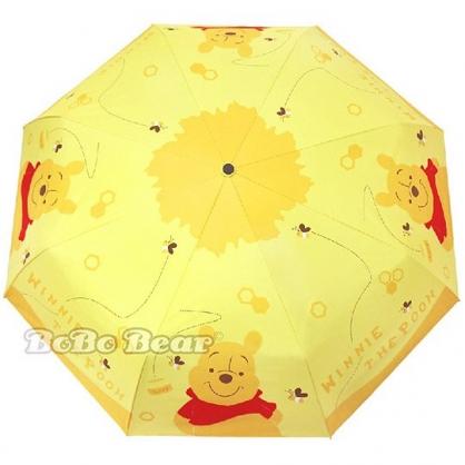 小禮堂 迪士尼 小熊維尼 自動傘 折疊傘 雨陽傘 遮陽傘 折傘 雨具 加大型 (黃 蜂蜜)