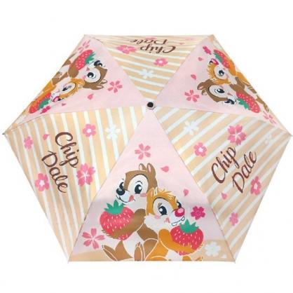 小禮堂 迪士尼 奇奇蒂蒂 折疊傘 雨陽傘 遮陽傘 折傘 雨具 雨傘 (粉棕 櫻花)