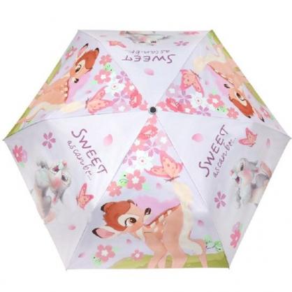 小禮堂 迪士尼 小鹿斑比 折疊傘 雨陽傘 遮陽傘 折傘 雨具 雨傘 (粉紫 櫻花)