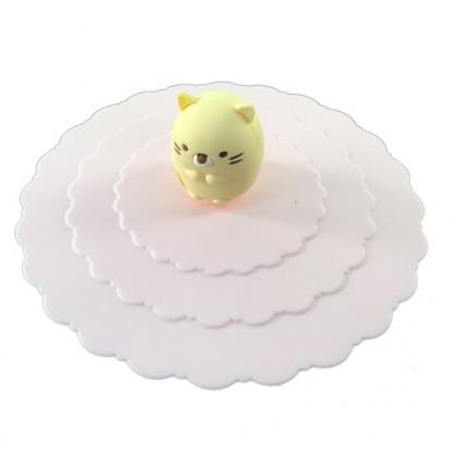 小禮堂 角落生物 貓咪 防漏杯蓋 矽膠 環保杯蓋 防塵杯蓋 直徑9.5cm (粉)
