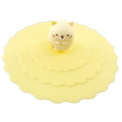 小禮堂 角落生物 貓咪 防漏杯蓋 矽膠 環保杯蓋 防塵杯蓋 直徑9.5cm (黃)