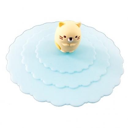 小禮堂 角落生物 貓咪 防漏杯蓋 矽膠 環保杯蓋 防塵杯蓋 直徑9.5cm (藍)