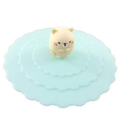 小禮堂 角落生物 貓咪 防漏杯蓋 矽膠 環保杯蓋 防塵杯蓋 直徑9.5cm (綠)