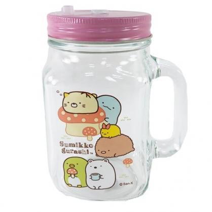 小禮堂 角落生物 透明梅森杯 玻璃杯 吸管杯 飲料杯 單耳 附蓋 450ml (粉蓋 蘑菇)