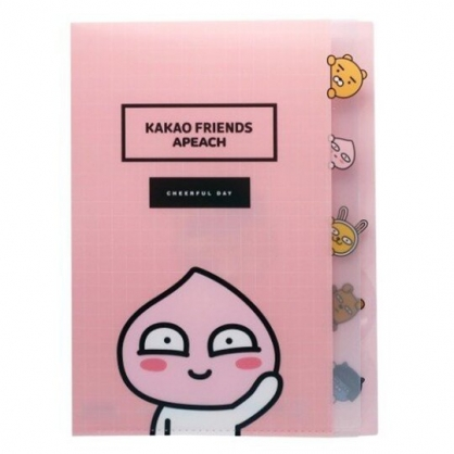 小禮堂 KAKAO Friends 桃子 日製 資料夾 A4 分類文件夾 檔案夾 L夾 (粉 招手)