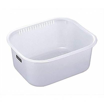 小禮堂 日本INOMATA 日製 洗物籃 方形塑膠 洗菜籃 瀝水籃 收納籃 置物籃 9L (白)