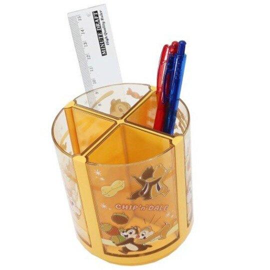 小禮堂 迪士尼 奇奇蒂蒂 旋轉筆筒 圓形塑膠 收納筒 刷具筒 置物筒 可拆式 (棕 花生)