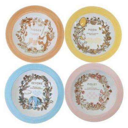 小禮堂 迪士尼 小熊維尼 日製 陶瓷盤 圓盤 深盤 菜盤 沙拉盤 點心盤 (4入 粉黃 樹葉)