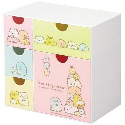 小禮堂 角落生物 抽屜盒 五抽 塑膠 收納盒 置物盒 飾品盒 文具盒 (粉綠 夾娃娃)