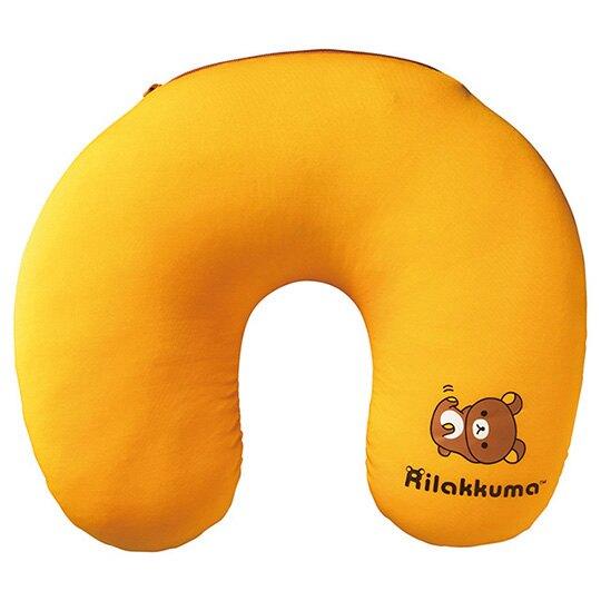 小禮堂 懶懶熊 U型頸枕 尼龍 午安枕 抱枕 靠枕 護頸枕 旅行枕 可收納 (棕 大臉)