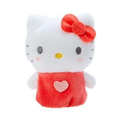 小禮堂 Hello Kitty 手指娃娃 絨毛 玩偶 指偶 手偶 布偶 玩具 (紅白)