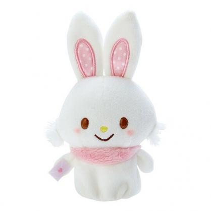 小禮堂 許願兔 手指娃娃 絨毛 玩偶 指偶 手偶 布偶 玩具 (粉白)