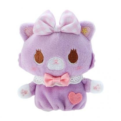 小禮堂 甜夢貓 手指娃娃 絨毛 玩偶 指偶 手偶 布偶 玩具 (粉紫)