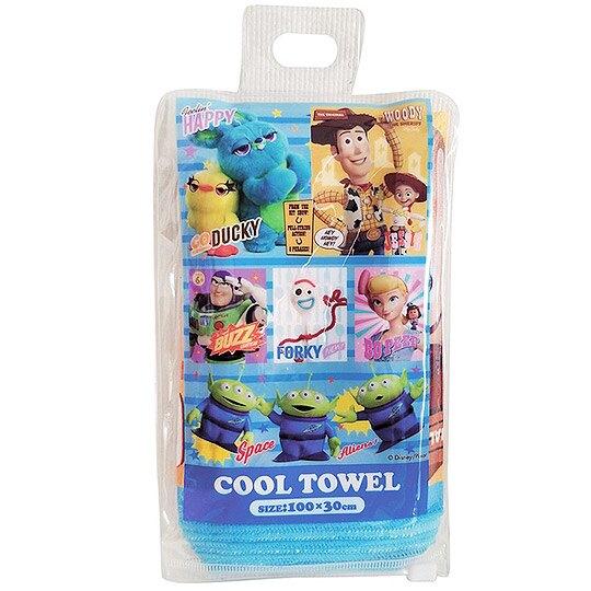 小禮堂 迪士尼 玩具總動員 涼感長毛巾 長巾 冰巾 運動毛巾 涼感巾 附收納包 (藍 格塗)