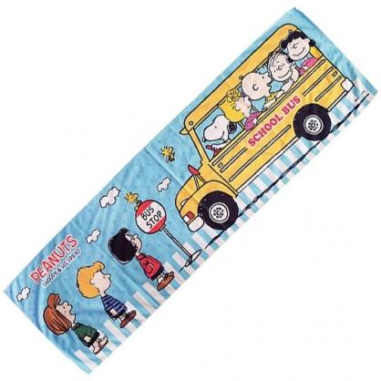 小禮堂 史努比 涼感長毛巾 長巾 冰巾 運動毛巾 涼感巾 附收納包 (藍黃 巴士)