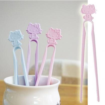 小禮堂 Hello Kitty 日製 不沾手零食夾 塑膠 食物夾 餅乾夾 夾子 (粉)